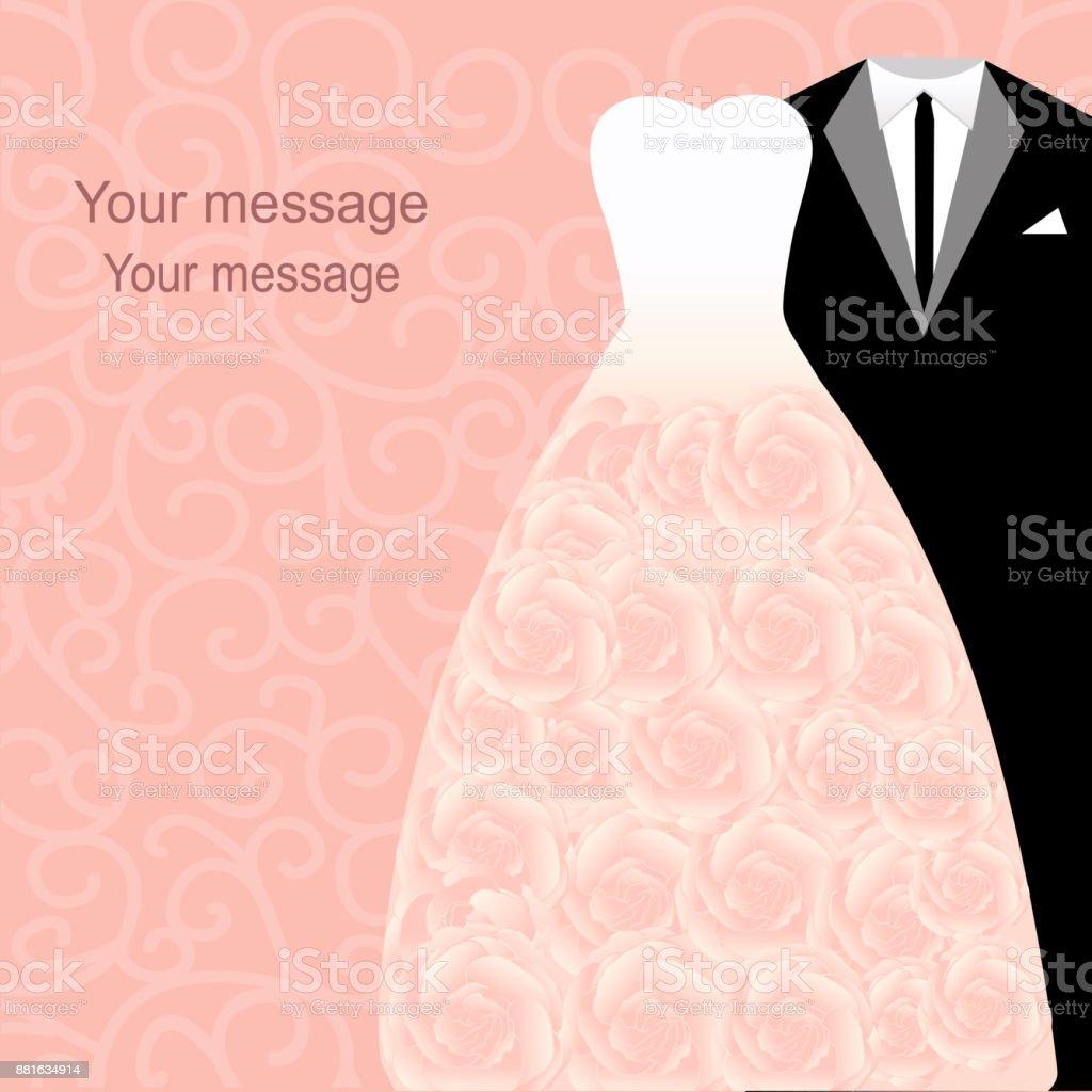 Ilustración de Invitación De Boda Con Un Esmoquin Y Vestido Sobre Un ...