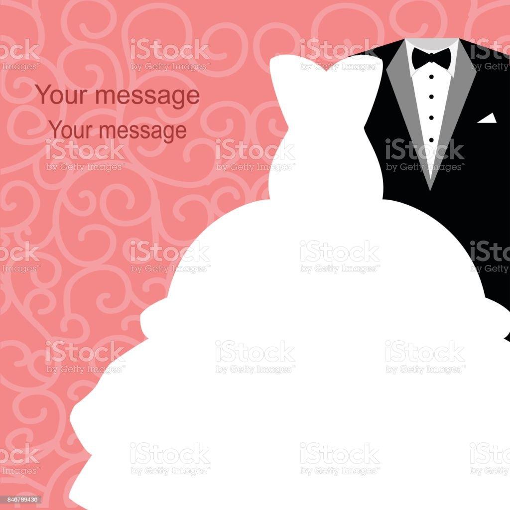 Ilustración de Invitación De Boda Con Un Vestido Y Smoking y más ...