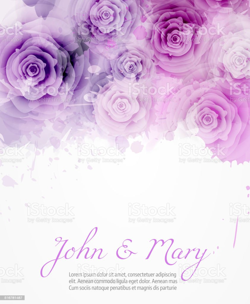 Wedding invitation with abstract roses vector art illustration