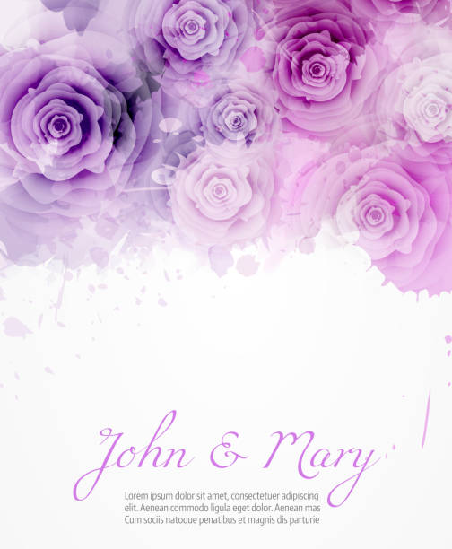 Wedding invitation with abstract roses Wedding invitation template with abstract roses on watercolor background. eps10 - contains transparencies violet flower stock illustrations
