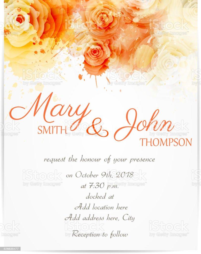Convite de casamento com rosas em - ilustração de arte em vetor