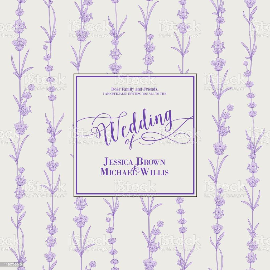 Wedding Invitation With Blossom Lavender Bridal Shower Card