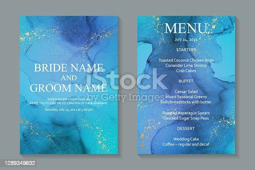 istock Wedding invitation with blue watercolor waves or fluid art in alcohol ink style with golden glitter. 1289349632