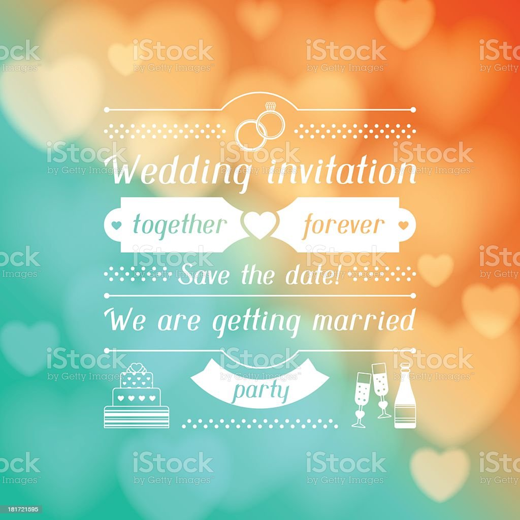 Wedding invitation with blurred colored lights royalty-free stock vector art
