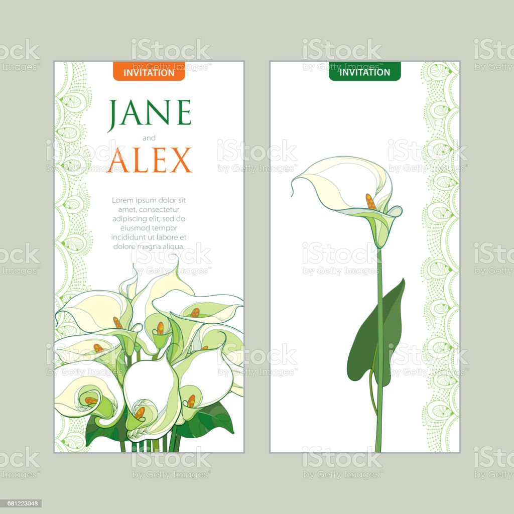 Wedding Invitation With Bouquet Calla Lily Flower In Pastel Colors