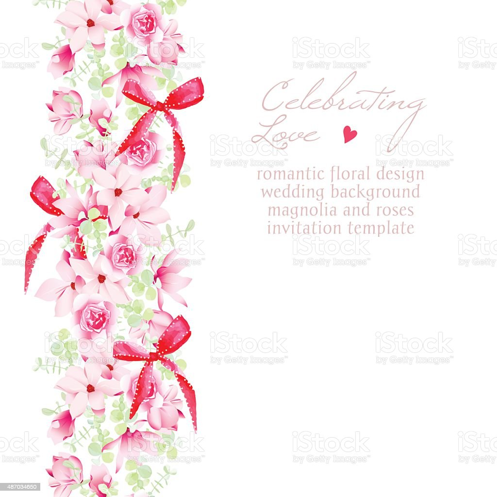 Wedding Invitation With Bouquets And Red Bows Vector Design Frame ...