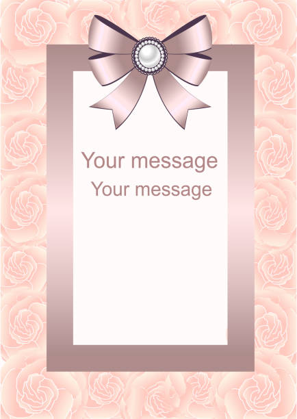 hochzeitseinladung mit pfeil und bogen rahmen für text. - perlenstrauß stock-grafiken, -clipart, -cartoons und -symbole