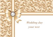 Wedding invitation with bow and ribbons.