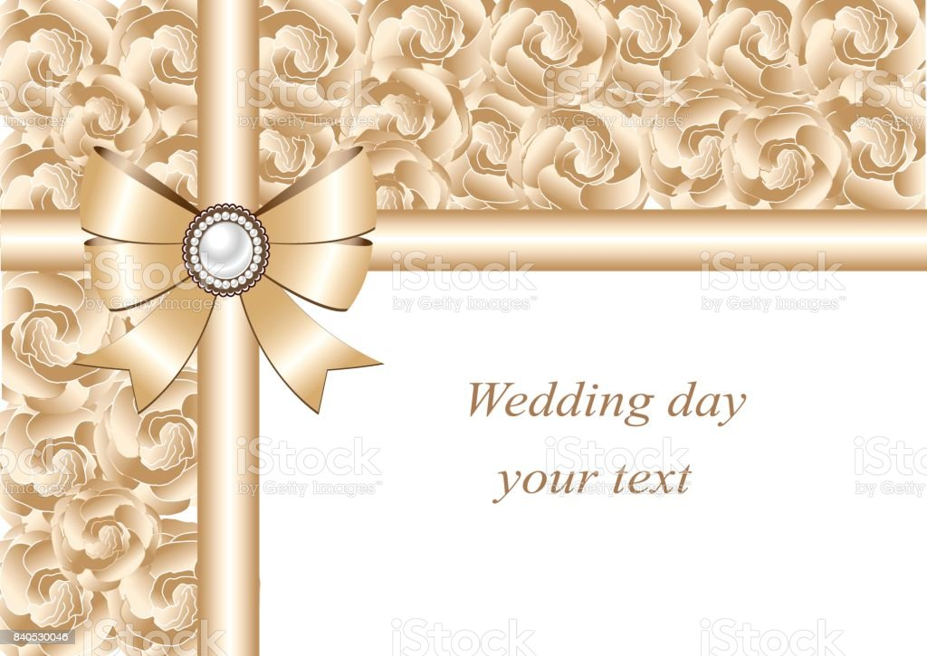 Wedding invitation with bow and ribbons. vector art illustration