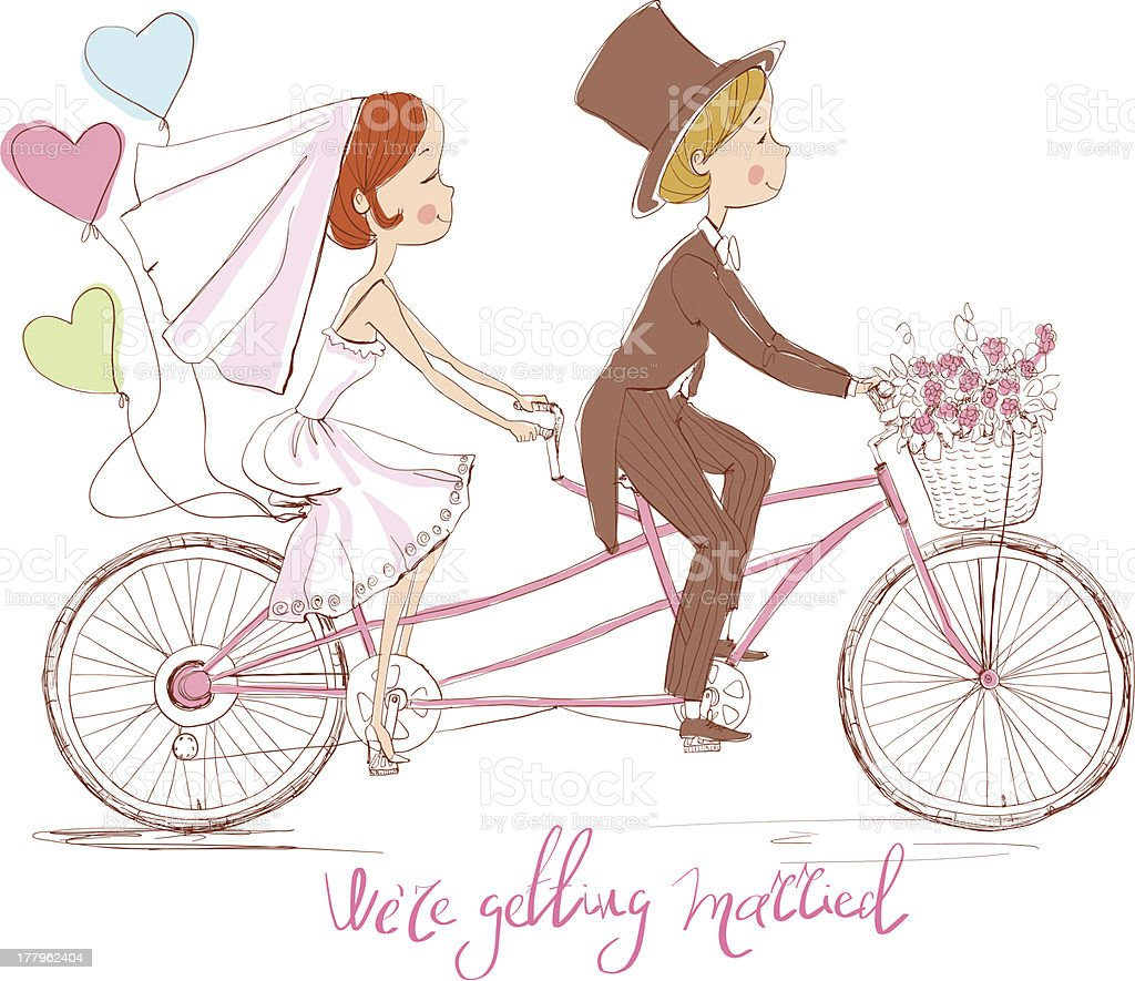 Wedding invitation with bride and groom on bicycle royalty-free stock vector art