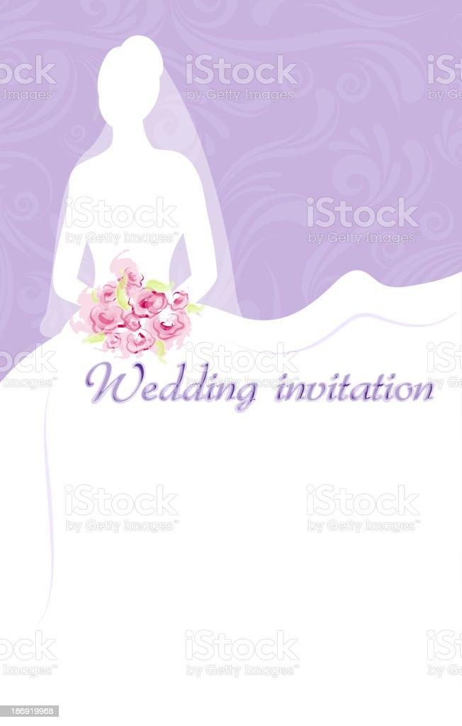 Wedding invitation with bride vector art illustration
