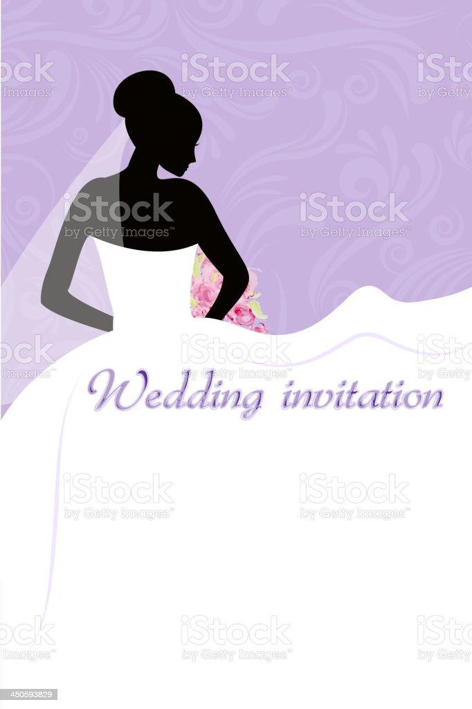 Hochzeit Einladung mit Braut – Vektorgrafik