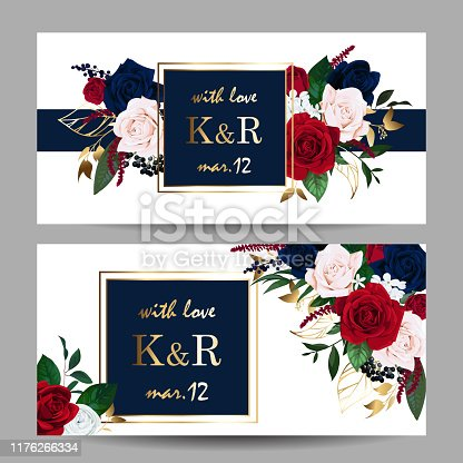 Wedding invitation with burgundy and navy blue roses