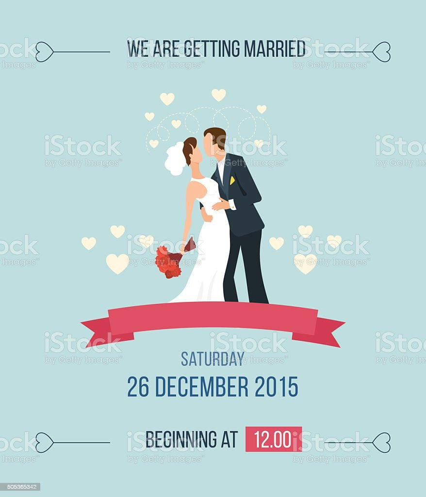 Wedding Invitation With Cartoon Bride Groom Stock Vector Art More