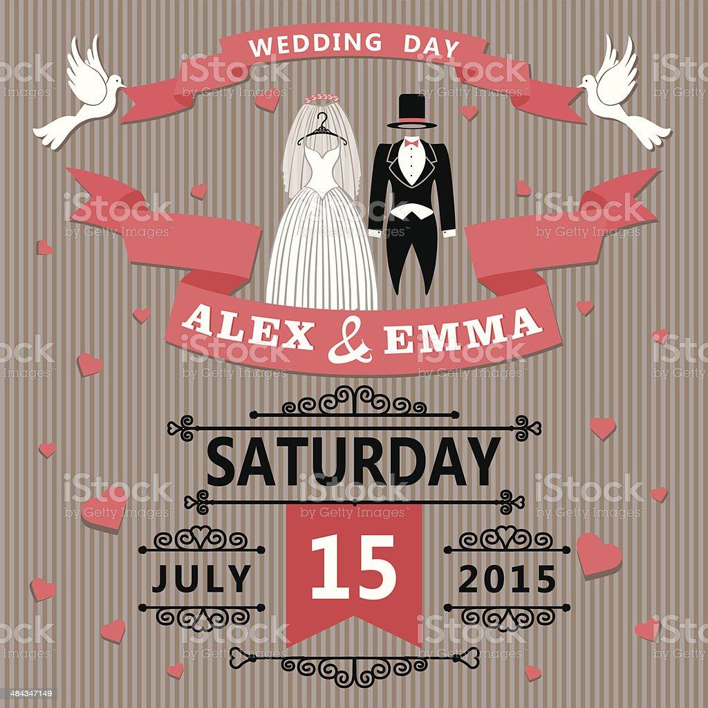 Wedding invitation with cartoon dress of bride and groom royalty-free stock vector art