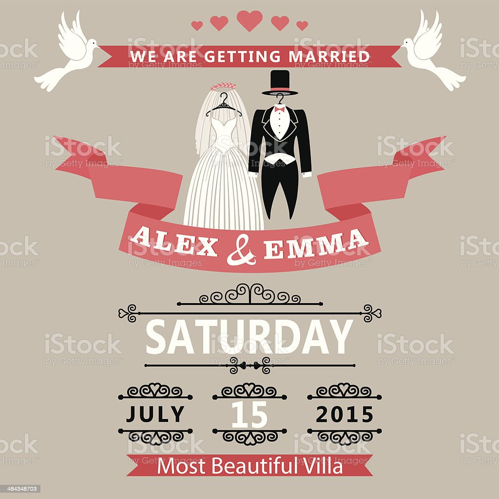Wedding invitation with clothing groom and bride.Retro - Royalty-free Beautiful People stock vector