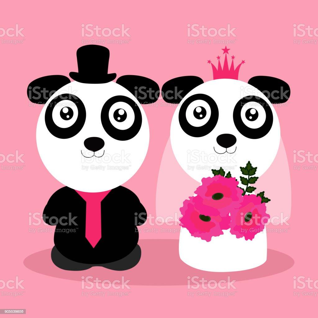 Ilustración de Invitación De Boda Con Lindos Pandas y más banco de ...
