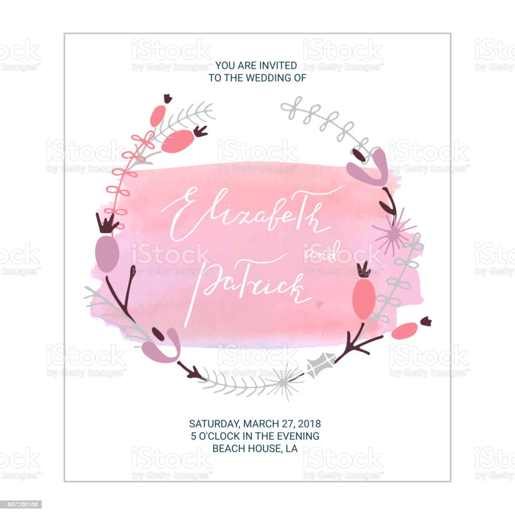 Wedding Invitation With Floral Wreath Watercolor Splash And ...