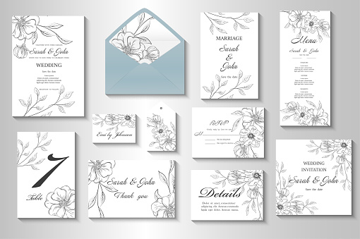 Wedding invitation with flowers and leaves.