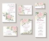 Wedding invitation with flowers Peony and leaves, watercolor, isolated on white. Vector Watercolour.