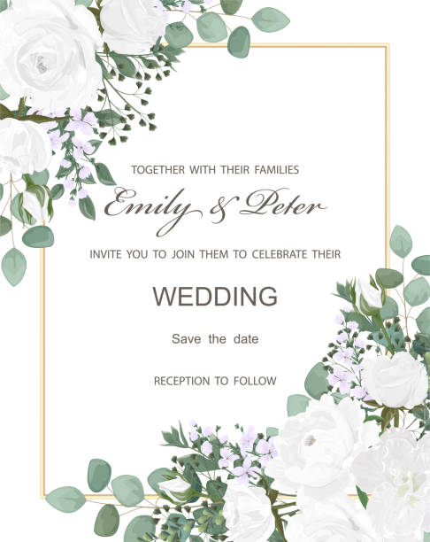 Wedding invitation with flowers Peony and leaves, watercolor, isolated on white. Wedding invitation with flowers Peony and leaves, watercolor, isolated on white. Vector Watercolour. wedding invitation stock illustrations