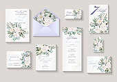 Wedding invitation with flowers Peony and Roses, watercolor, isolated on white. Vector Watercolour.