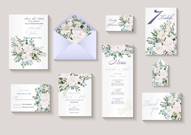 Wedding invitation with flowers Peony and Roses, watercolor, isolated on white. Wedding invitation with flowers Peony and Roses, watercolor, isolated on white. Vector Watercolour. wedding invitation stock illustrations