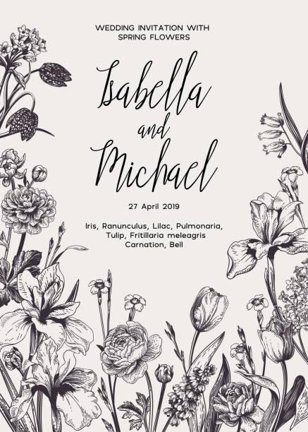 Wedding invitation with flowers. vector art illustration