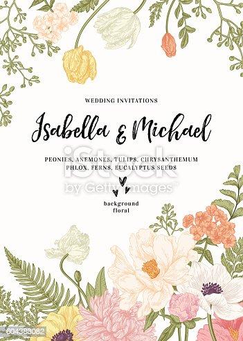 Vintage wedding invitation. Summer garden flowers. Peonies, anemones, tulips, phlox, chrysanthemum, ferns, eucalyptus seeds. Botanical illustration. Engraving. Vector.
