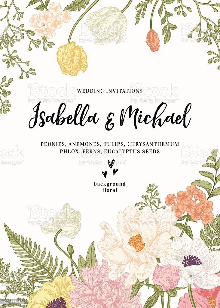 結婚式の招待状の花。 ベクターアートイラスト