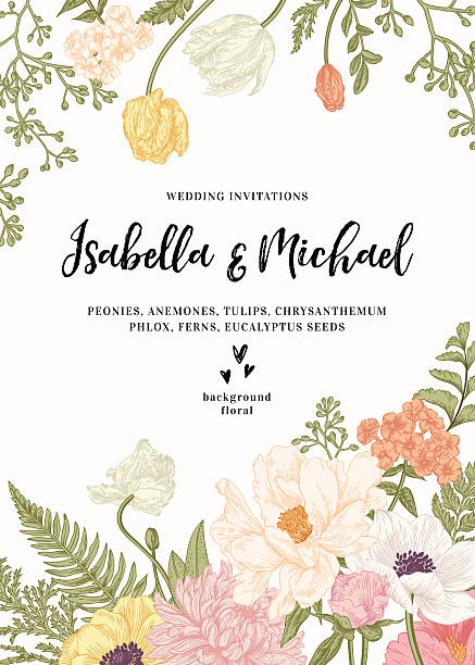 Wedding invitation with flowers. vector art illustration