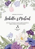 Vintage wedding invitation. Summer garden flowers. Peonies, anemones, tulips, phlox, chrysanthemum, ferns, eucalyptus seeds. Botanical illustration. Engraving. Pastel colors.