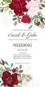 Wedding invitation with flowers, watercolor, isolated on white. Vector Watercolor.