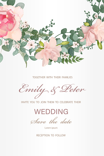 Wedding invitation with flowers, watercolor, isolated on white.