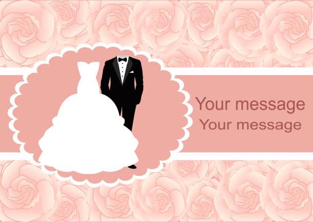 hochzeitseinladung mit rahmen für text. - rosenhochzeitskleider stock-grafiken, -clipart, -cartoons und -symbole
