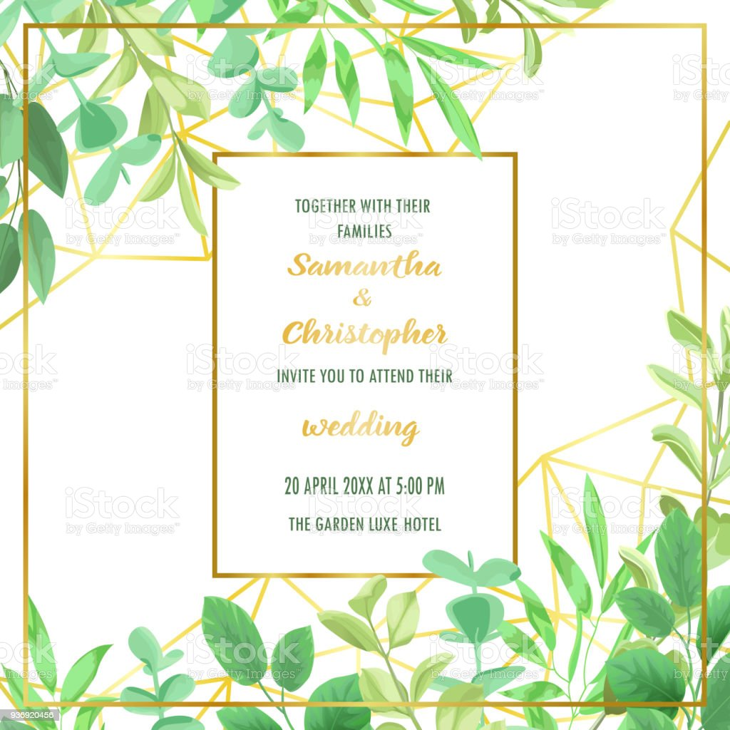 Wedding invitation with geometric frame and greenery stock vector wedding invitation with geometric frame and greenery royalty free wedding invitation with geometric frame and stopboris Choice Image