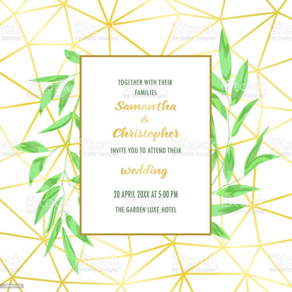 Wedding invitation with geometric frame and greenery stock vector wedding invitation with geometric frame and greenery royalty free wedding invitation with geometric frame and stopboris Image collections