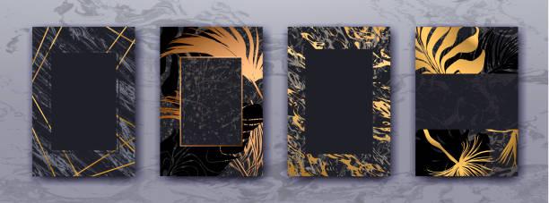 Invitation avec palme d'or de mariage laisse, modèle de marbre noir. - Illustration vectorielle