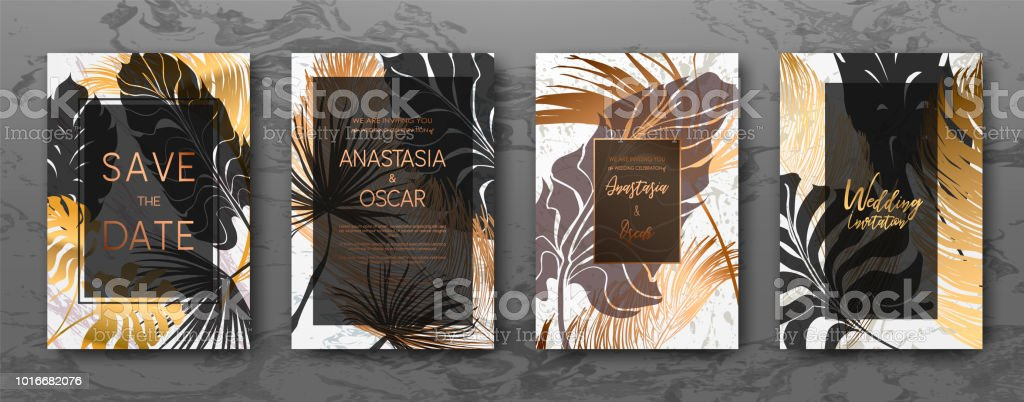 Wedding invitation with gold palm leaves black white marble template wedding invitation with gold palm leaves black white marble template artistic covers design stopboris Image collections