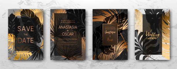 hochzeitseinladung mit goldenen palmenblätter, deckt schwarz, weißen marmor vorlage, künstlerische gestaltung. - edelrost stock-grafiken, -clipart, -cartoons und -symbole