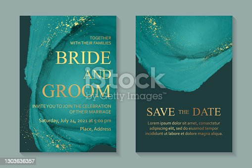 istock Wedding invitation with green watercolor waves or fluid art in alcohol ink style with golden glitter. 1303636357