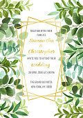 Floral wedding invitation with geometric gold frame, herb and branches with leaves in watercolor style. Greenery botanical template with text place for invite, greeting, birthday card and covers.