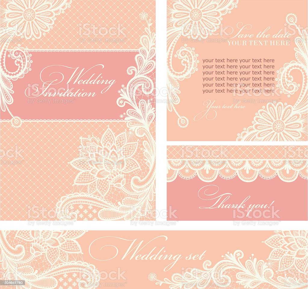 Wedding invitation with lace flowers. vector art illustration