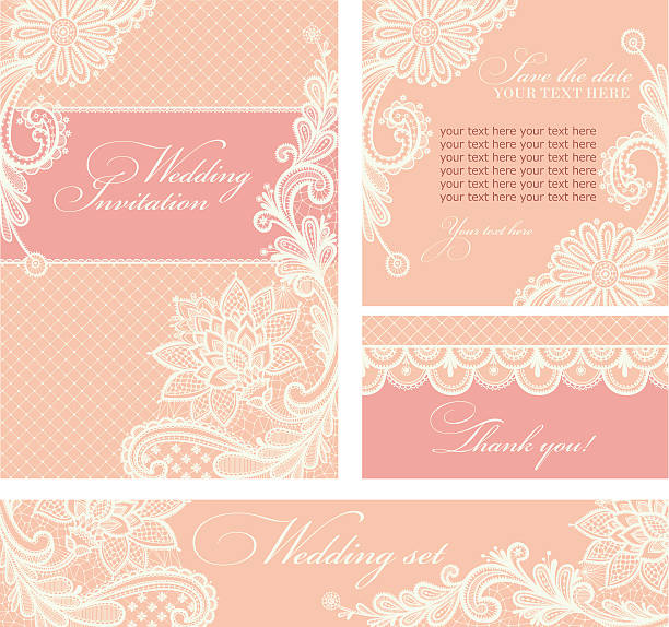 Wedding invitation with lace flowers. Set of wedding invitations and announcements with vintage lace background. lace textile stock illustrations