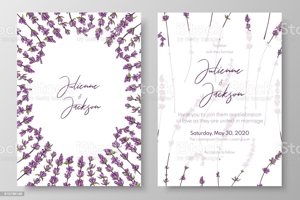 Wedding Invitation With Lavenders Purple Cards Templates For Save