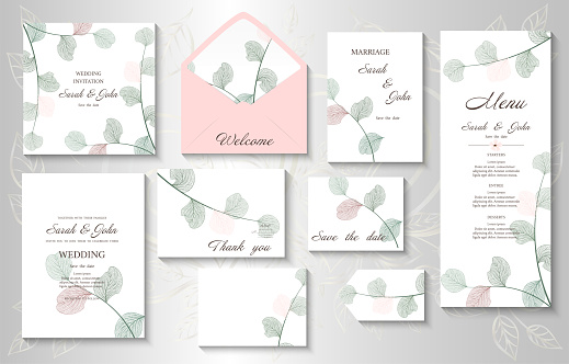 Wedding invitation with leaves eucalyptus,isolated on white.
