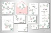 istock Wedding invitation with leaves eucalyptus,isolated on white. 1267914824