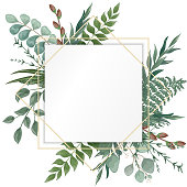 Wedding invitation with leaves, isolated on white. Vector