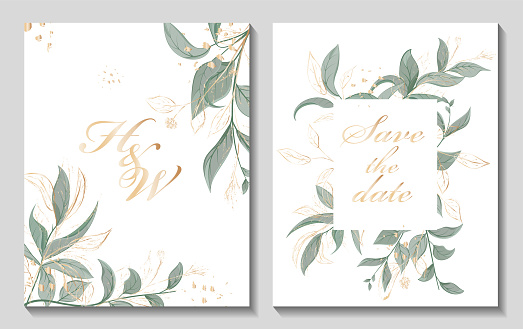 Wedding invitation with leaves, watercolor, isolated on white.