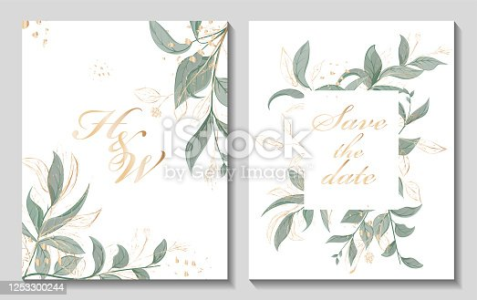istock Wedding invitation with leaves, watercolor, isolated on white. 1253300244